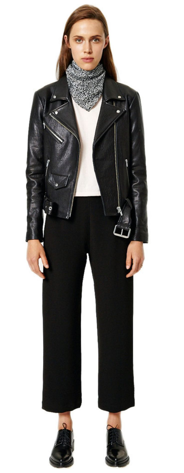 Veda Jayne Classic black leather biker jacket  Fabric: Leather. 100% cotton lining. Dry clean sparingly. Made in the USA.