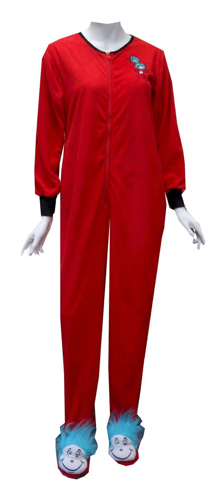 Dr seuss thing one and thing two one piece footie pajama
