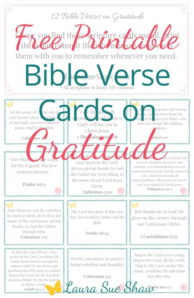 12 FREE printable Bible verse cards on gratitude - these are great for memorizing scripture or to put around the house as small reminders.