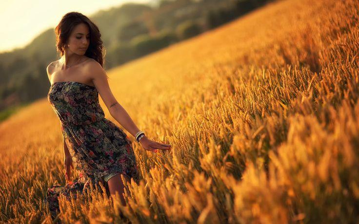 девушка, закат, лето, платье, поле