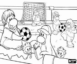 Colorear El partido de fútbol del Club Penguin