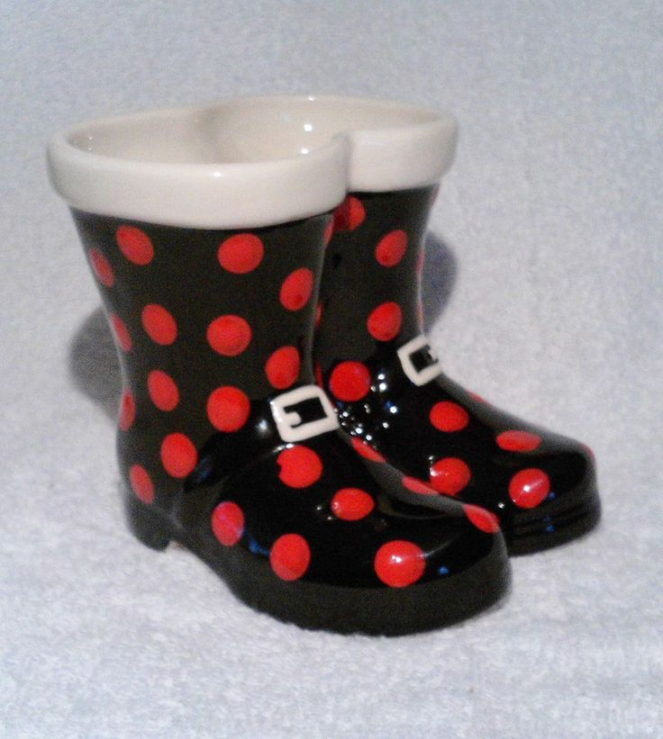 Christmas Santa Claus Boots Planter Vase Black Red Polka Dots Grasslands Road