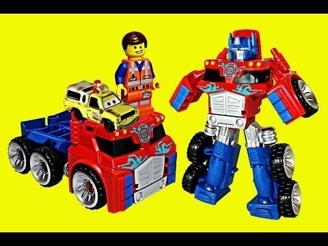 Transformers Optimus Prime Rescue Trailer with Lego Emmet and Disney Cars Todd Toys - YouTube