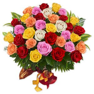 Dali $282.99 Highly imaginative, eccentric and bizarre, this strikingly extravagant depiction of 3 dozen mixed colored roses beautifully wrapped and tied with a bright ribbon, makes a grand addition to your loved ones home or office