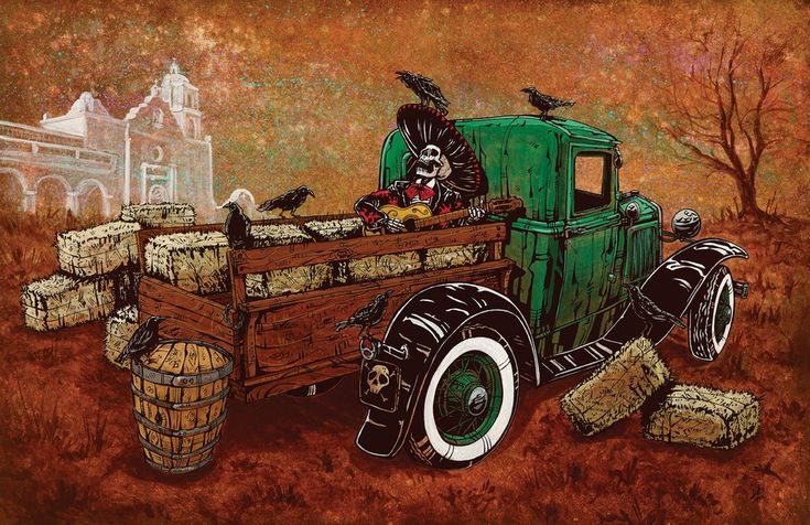 The skeleton mariachi kicks up his bony feet and serenades his feathered friends from the back of an old Ford...