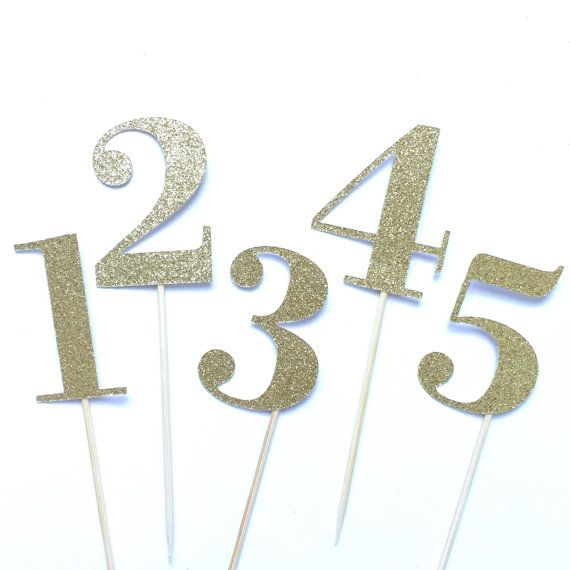 Glitter Gold Wedding Table Numbers Number by TrendiConfetti