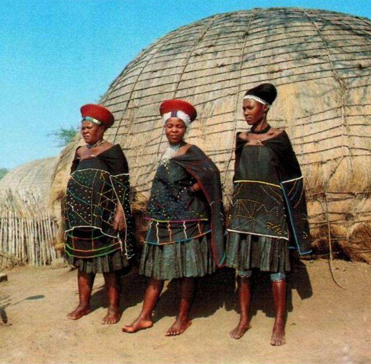 Africa | Zulu women in traditional dress.  South Africa | Scanned postcard