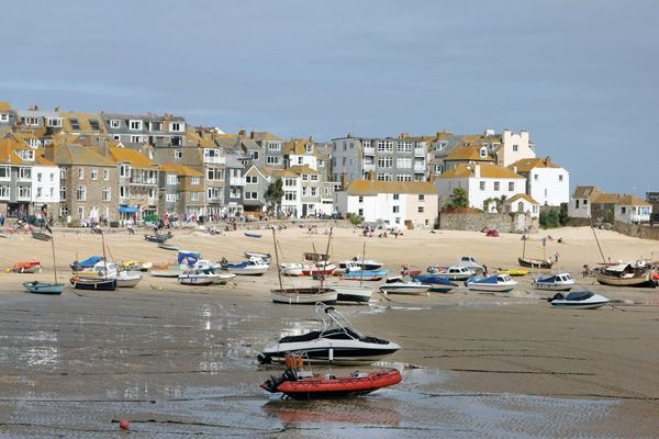 St Ives harbour with the tide out.