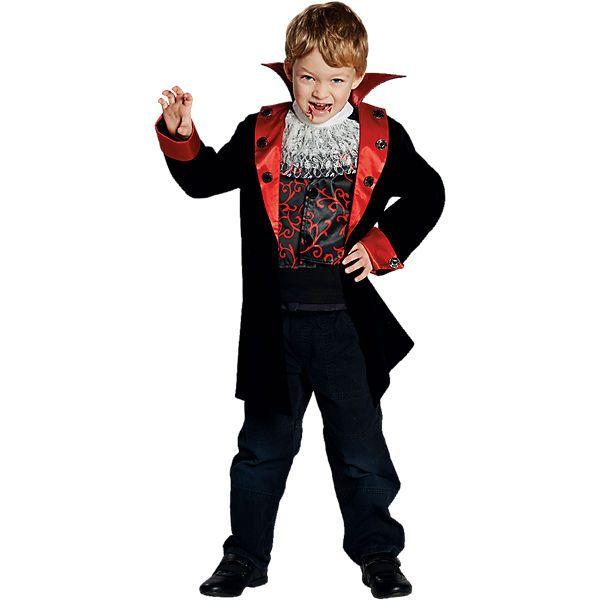 Ein schwarzer Mantel für Kinder in Samtoptik mit einem breiten Stehkragen und einem roten Revers und Ärmelenden. <br /> Entlang des Revers und an den Ärmelenden sind silberne Knöpfe, die mit schwarzen Steinen verziert sind, angenäht. <br /> Eine schwarze Weste in Satinoptik, die mit roten Ornamenten bedruckt ist und zwei Knöpfen geschlossen wird, ist in den Mantel eingenäht. <br /> Dazu gibt es ein Jabot aus weißem Spitzenstoff. <br /> <br /...
