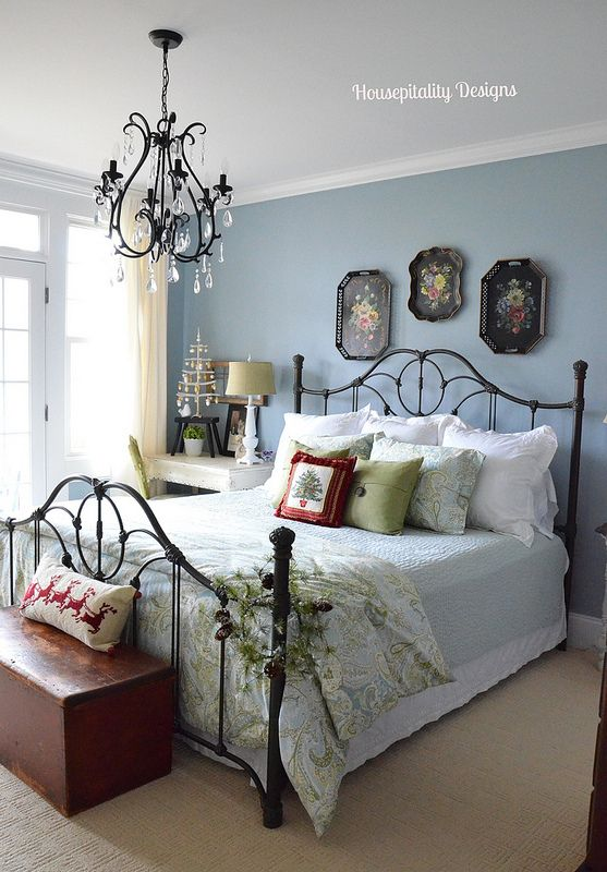 For the master bedroom: The wall color is Benjamin Moore Nantucket Fog.