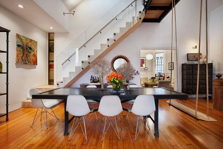 swing?: Houses Renovation, Benches, Chairs, Swings, Dinners Parties, Dining Rooms Tables, San Francisco, Victorian Houses, Dining Tables
