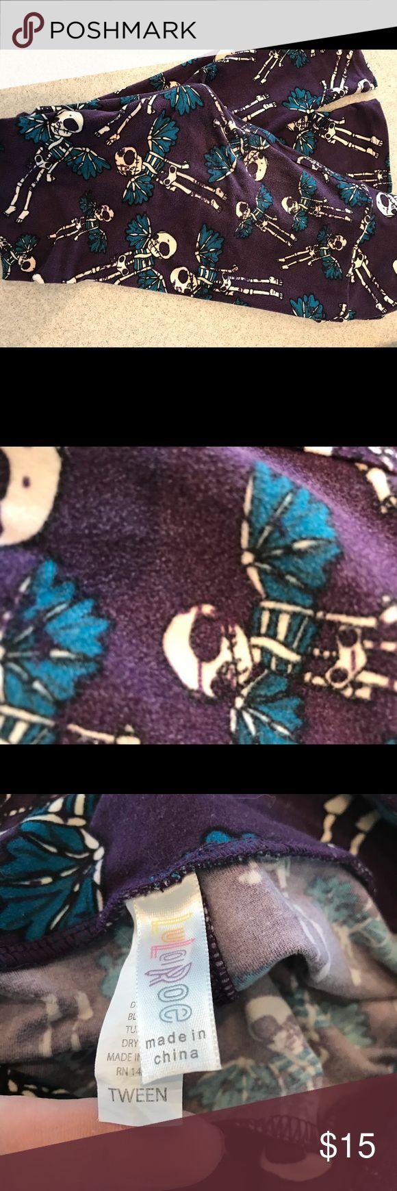 Lularoe tween leggings flying skeletons Lularoe tween leggings flying skeletons. Purple with black and blue in the print LuLaRoe Bottoms Leggings