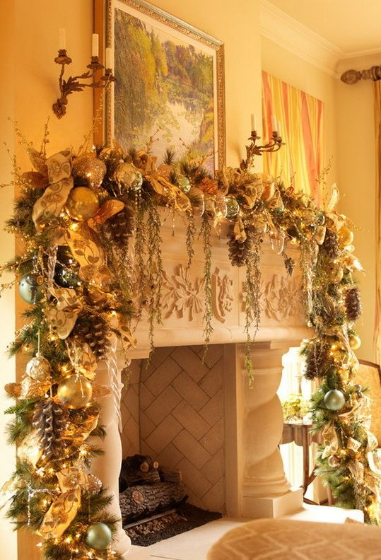 Christmas Mantel Decor Inspiration                                                                                                                                                      More
