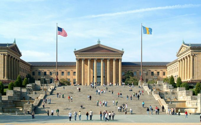 "Philadelphia Museum of Art (aka the ""Rocky Steps"") -- my bro bet me $ 50 to run up here reenacting the scene from Rocky and videotaping it. $ 30 if William does it. LOL"