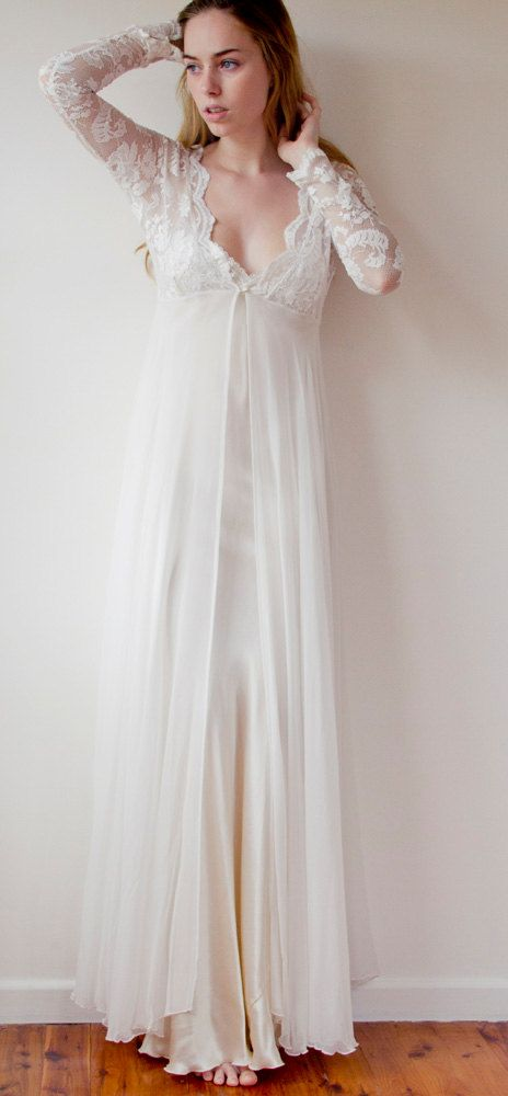 Long Ivory French lace robe / jacket bridal by GraceLovesLace; just sooo beautiful
