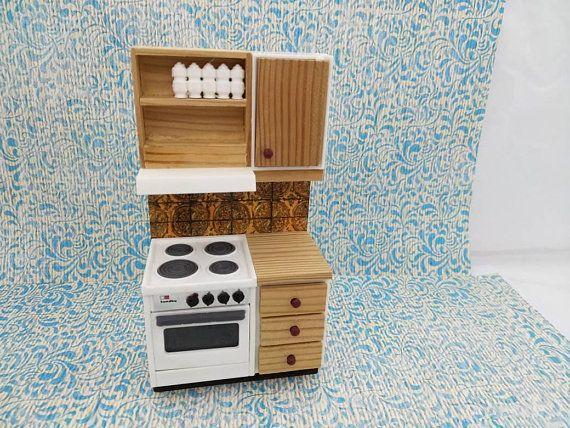 Lundby Stove and Wood Counter made in England Barton Doll Furniture Kitchen white MCM  #etsysellsvintage #BartonLundyEngland #CarolinesHome #DollhouseToy #DollHouse #MinimalScratch #TinLitho #kitchen #EnglishMiniature #RenwalIdeal #dollhouse#miniatures#dolls#vintagetoys#retro#midcentury#marx#renwal#minimalscratch#etsyseller