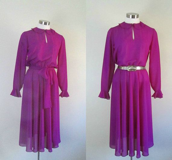 1970s Vintage Sheer Magenta Dress by rileybellavintage on Etsy, $62.00