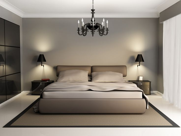 modern luxury elegant bedroom interior chandelier front