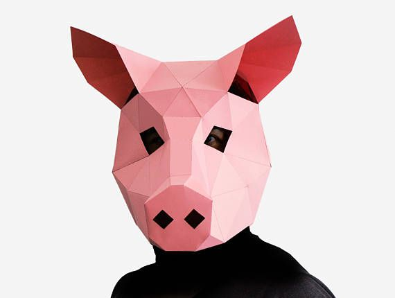 Pig Mask DIY printable Animal Head Instant Pdf download DIY