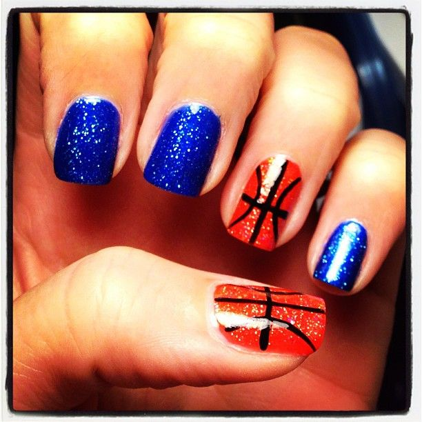 Basketball nails - Even the blue is almost right for Duke Blue. Maybe I'll try football for the Cowboys, too