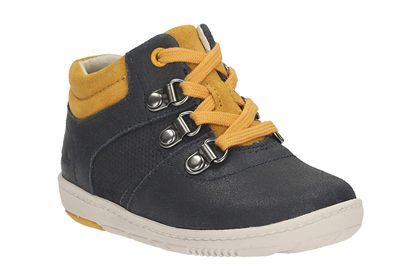 Clarks MaxiSquare Fst, Navy Leather, Boys Shoes
