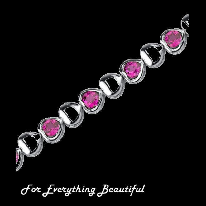 Hearts And Love Ruby Round Cut Sterling Silver Bracelet