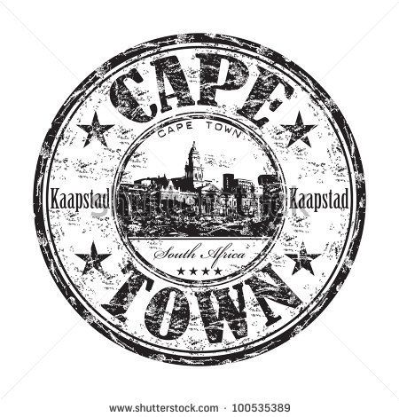 stock vector : Black grunge rubber stamp with the name of Cape Town, a city from South Africa written inside the stamp
