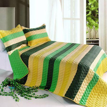Yellow Green 'Minecraft' Striped Teen Boy Bedding Full/Queen Quilt Set