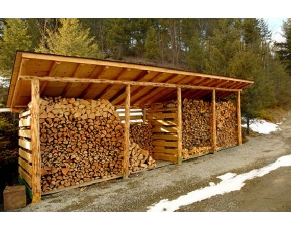 Firewood storage. Three bays of firewood- current, and two seasoning. The third for kindling.