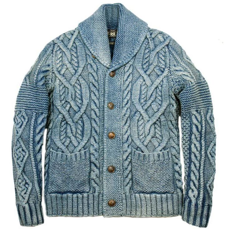 Rrl Indigo Dyed Cotton Cable Hand Knit Shawl Cardigan