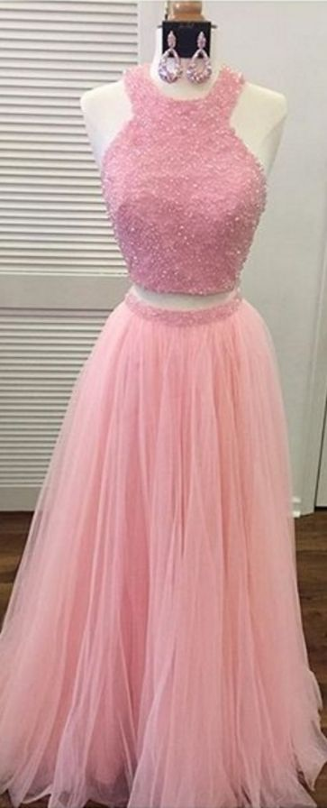 Lovely 2 piece Prom Dresses, Beading Crystal Prom