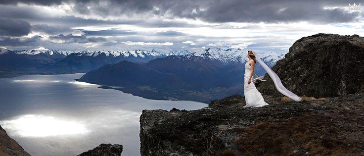 Heli Wedding on The Ledge, Queenstown New Zealand