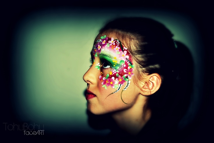 Spring flowers beautiful make up for girls fleurs printemps maquillage filles enfants - Maquillage pin up ...