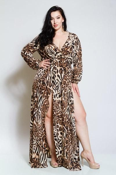 408f5844f9f42f Plus Size Leopard Double Slit Sexy Surplice Maxi Dress