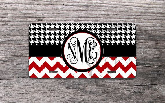 Personalized License Plate - Houndstooth pattern with Red chevron, custom name or monogram, vanity license plate, front car tag