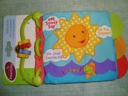 """Judul: Teetherbook Mastela - One sunny day. Grup:A Kode: BB-AT3  Ukuran tertutup : 22 x 14 cm Halaman: 4 hal isi + 2 hal sampul  Buku kain dengan teether (gigitan bayi) dilengkapi dengan beads di pegangannya (rattle), jadi selain dibaca, soft book ini juga enak buat digigit bayi. Bunyi gemerisik akan keluar jika cover dan halaman belakang buku dipegang. Bunyi """"nyet-nyet"""" akan keluar jika bagian tengah buku dipencet. Cocok untuk bayi usia mulai 3 bulan ke atas."""