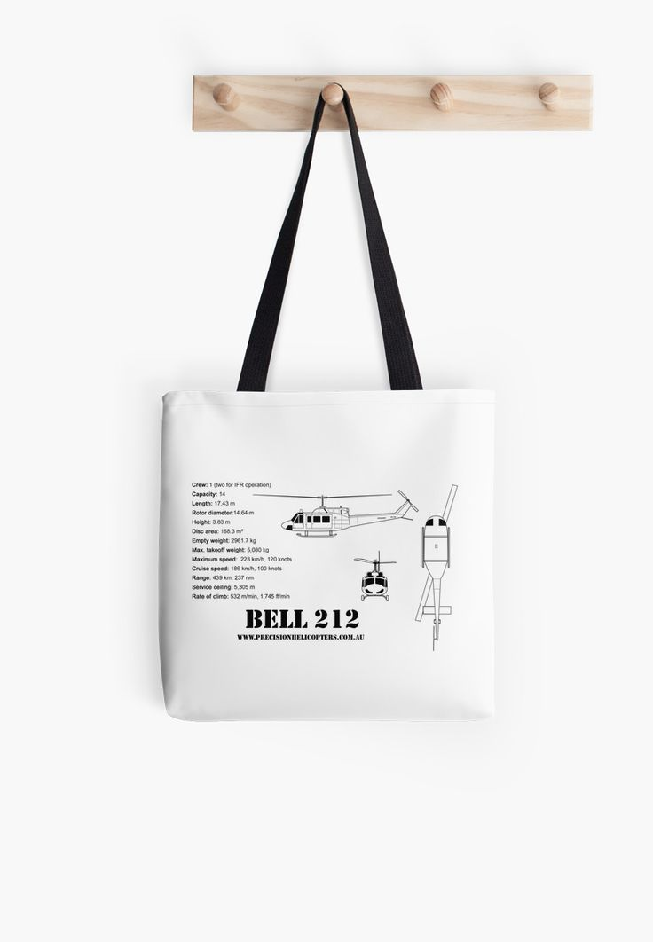 Tote bags from $17.51  Various sizes and pictures available.  http://www.redbubble.com/people/precisionheli/works/12528571-bell-212-twin-huey-helicopter?p=tote-bag