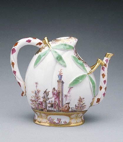 Wine Pot - Meissen Porcelain Manufactory; studio of Johann Gregor Höroldt, designer German, Meissen, about 1725 Hard-paste porcelain, polychrome enam...