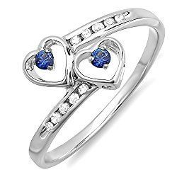 Sterling Silver Blue Sapphire & White Diamond Ladies Bridal Double Heart Promise Ring