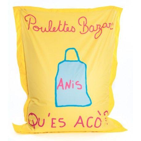 """Pouf géant """"APERO...PETANQUE"""" jaune signé POULETTES BAZAR """"APERO....PETANQUE"""","""