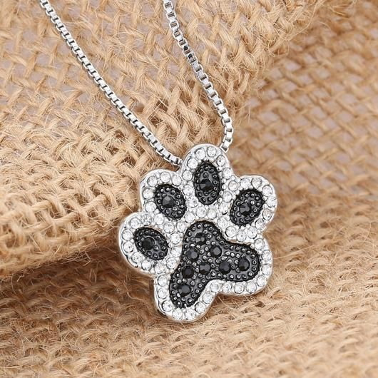 Black Crystal Dog Paw Necklace - Square Berry Co
