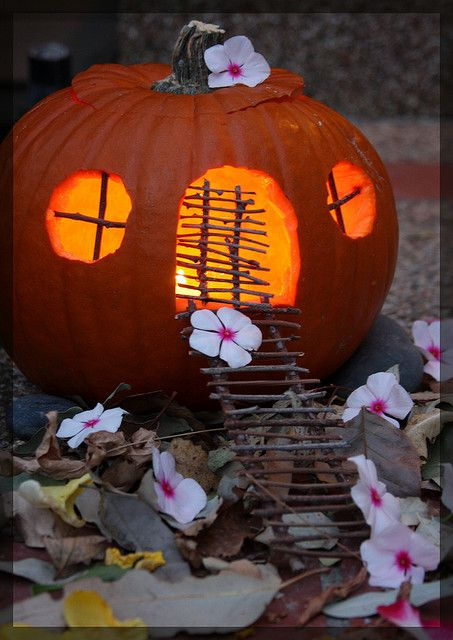 pumpkin fairy house #pumpkinfairyhouse. I can see Cinderella getting out of her carriage ;)