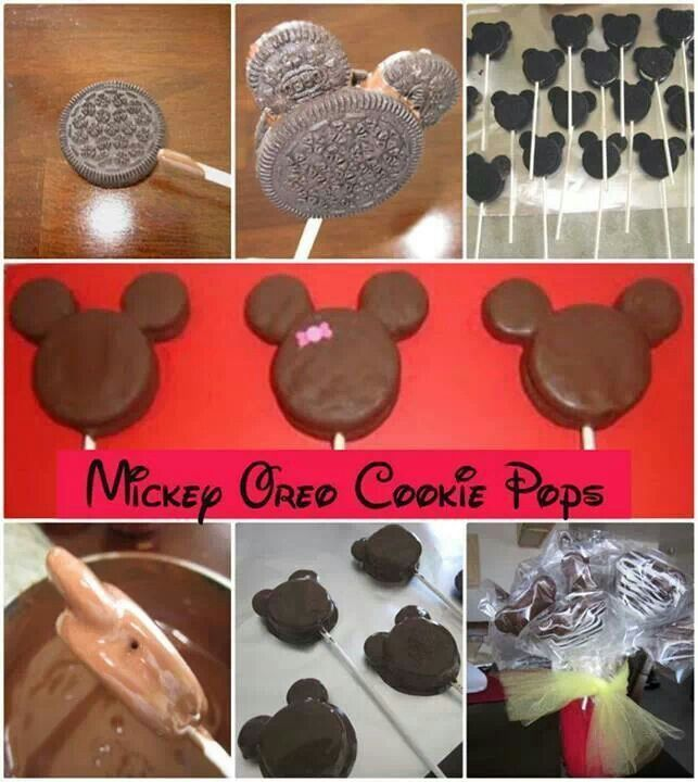 Mickey and Minnie Mouse cookie pops