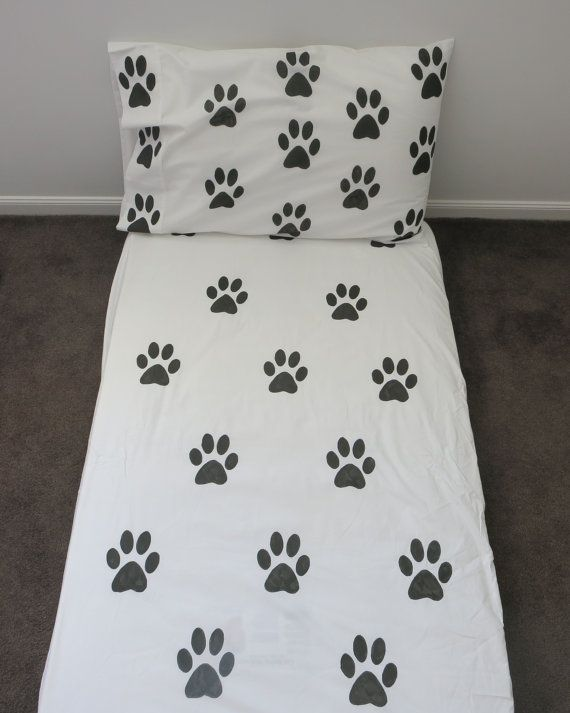 Paw Print fitted sheet by AliJoyKids on Etsy