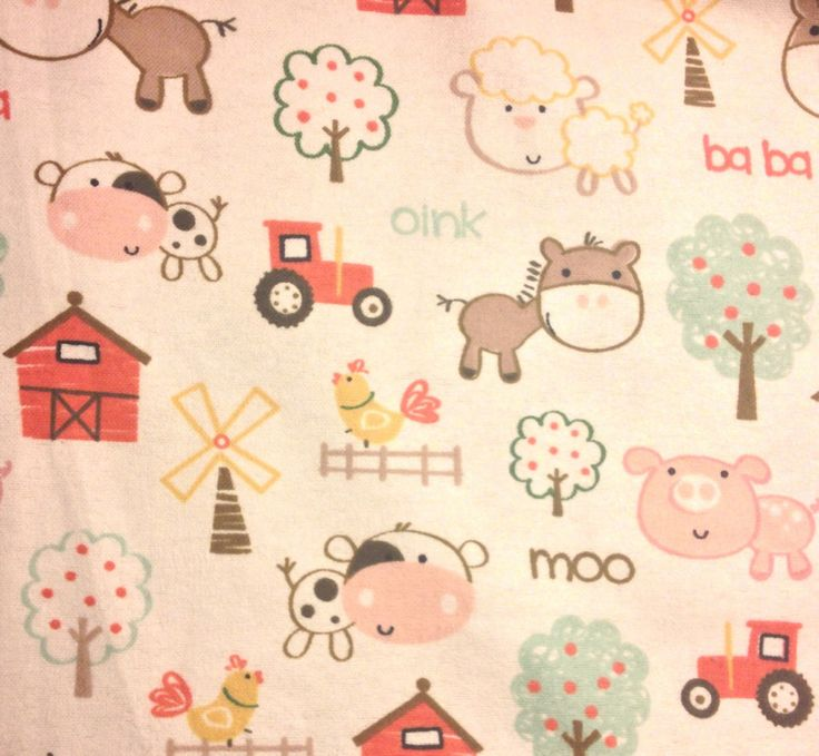 Flannel Farm Animal Fabric Baby Farm Animals On Creme