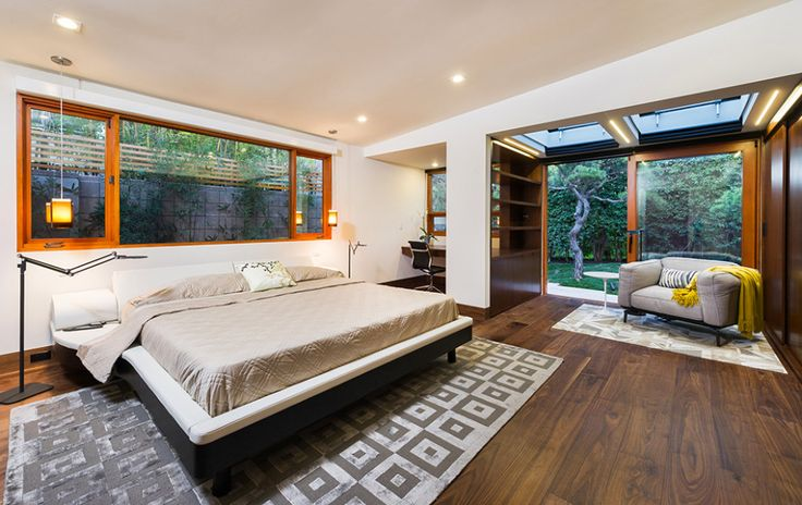 Interior, Parquet Teak Wood Floor Varnished Geometry Patterned Carpet Brown Bed Cover Masterbed Square Glass Window Door: Best New Home Desi...