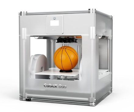 THE CUBEX™ DUO 3D PRINTER.  3D Printers, 3D Systems, Inc., Cube X Duo, 401384  Features  Recyclable ABS plastic cartridges. Print as big as a Basketball. Maximum Build Size, CubeX Single head print: 275mm (w) x 265mm (l) x 240mm (h) (10.75″ x 10.75″ x 9.5″ inches), Resolution: 100 microns Design Software Included. Includes a free license of Cubify Invent Software and material to get you started. Professional printability. Advanced settings to create inspiring prints.