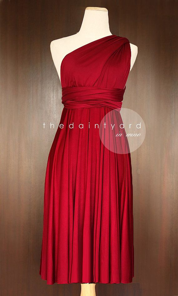 Short Straight Hem Wine red Bridesmaid Convertible by thedaintyard. Love this but with a non-straight bottom