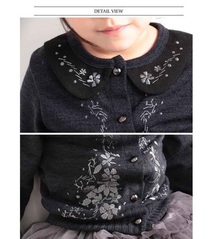 お花の刺繍がとってもかわいいキッズカーディガン女の子