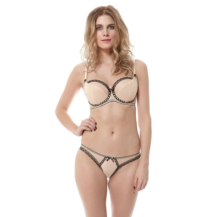 Nichole Creme Noir Non Padded Plunge Bra and Brazilian as worn by Ashley James